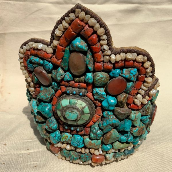 Tibetan/Ladakh Turquoise, Coral, Mother of Pearl Mounted Headdress Crown