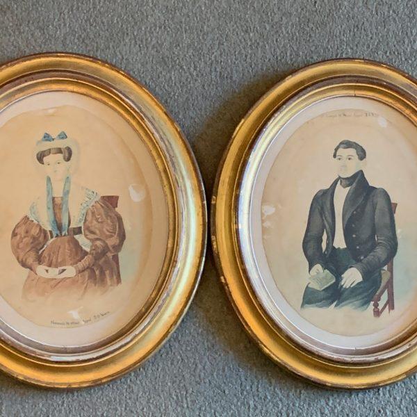 Henry Walton Watercolor Portraits of Joseph & Hannah Shuit of Orange County, NY