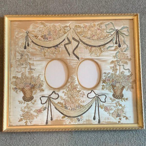 Louis XVI Silk Needlework Double Picture Frame