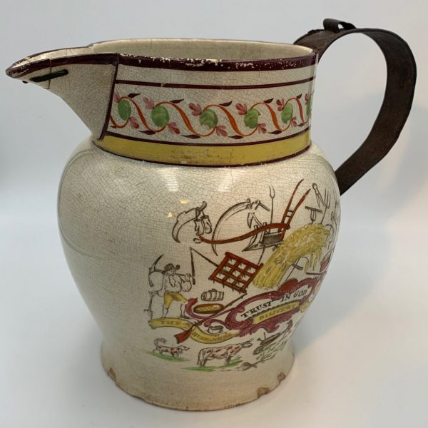 "English Creamware ""Make-do"" Jug ""The Husband's Diligence"""