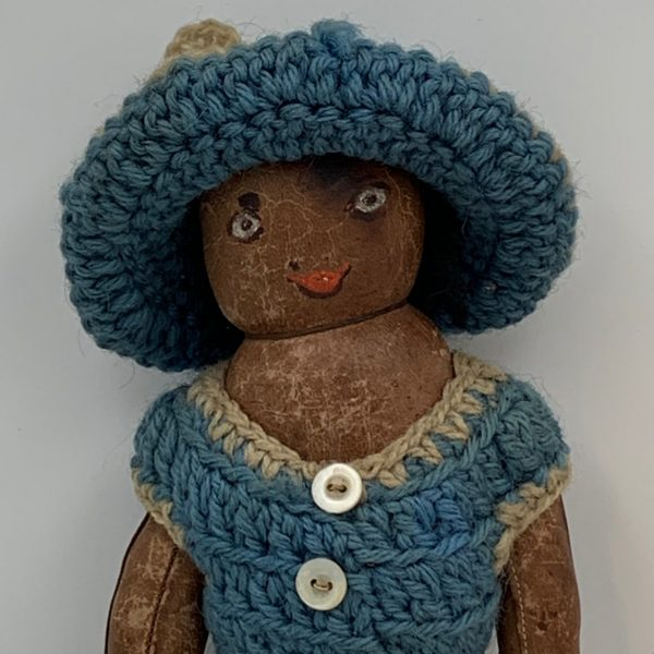 African American, Black Doll, Leather and Wool