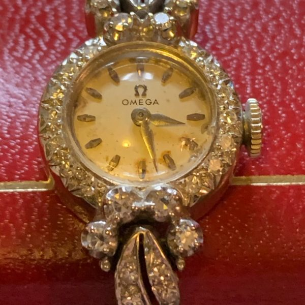 Art Deco, Omega Lady's Diamond and White Gold Watch