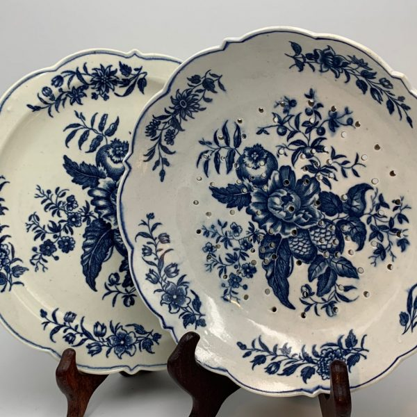 Worcester, Blue & White Pinecone Pattern Cress or Strawberry Dish