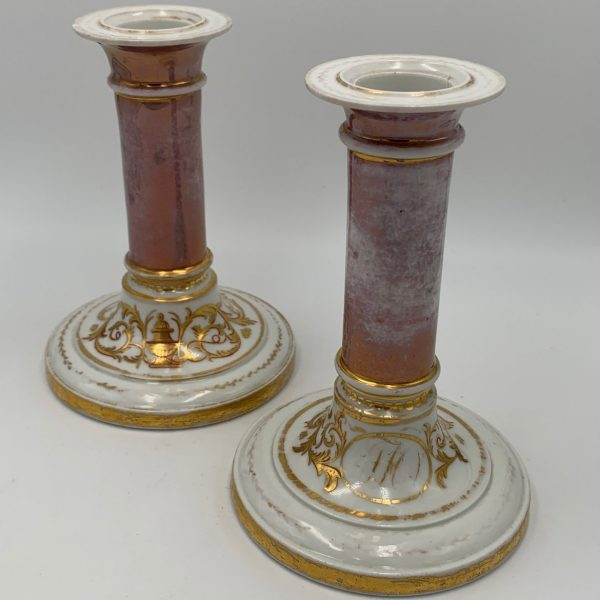 Pair French Porcelain Pink Luster and Gilt Candlesticks