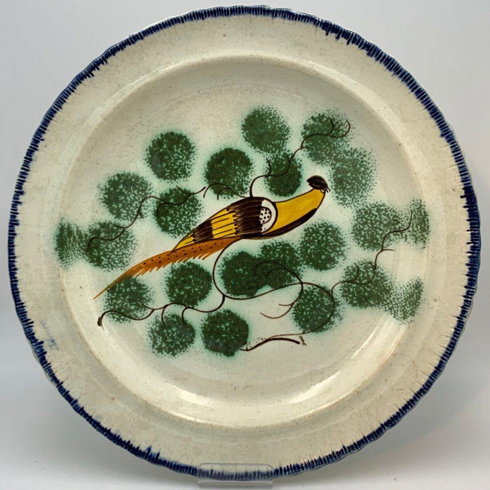 English Pearlware Peafowl Shell Edge Plate