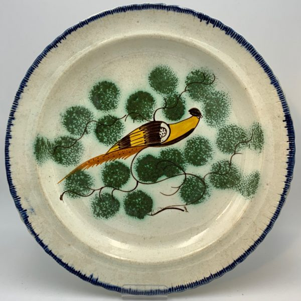 English Pearlware Peafowl Shell Edge Plate