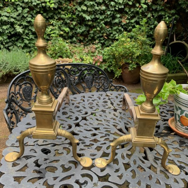 A Fine Pair of Early Federal Brass Andirons