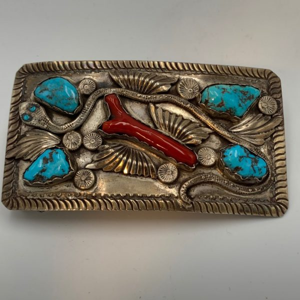 Native American Turquoise, Coral and Silver Buckle. Atr. Harold Koruh