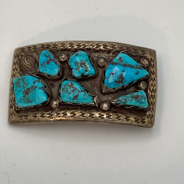 Native American Turquoise Nugget and Silver Buckle