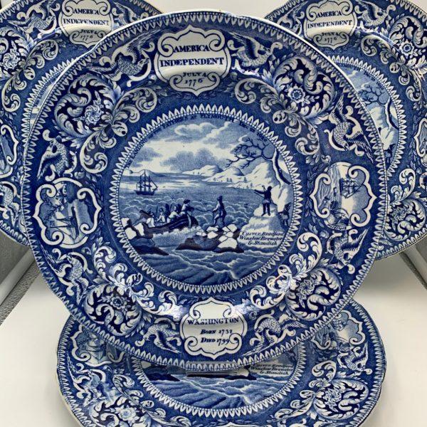 American Market Historic Blue Staffordshire Plates