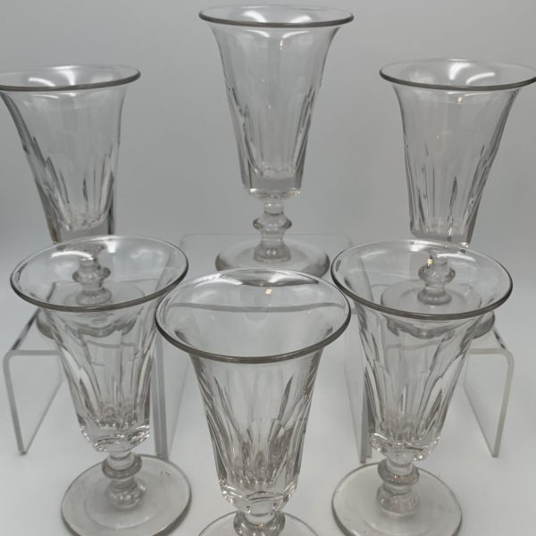 Six Blown and Cut Glass Jelly Glasses