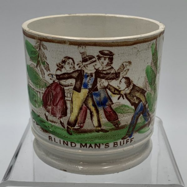 """Pearlware Child's Cup, """"Blind Man's Buff"""""""