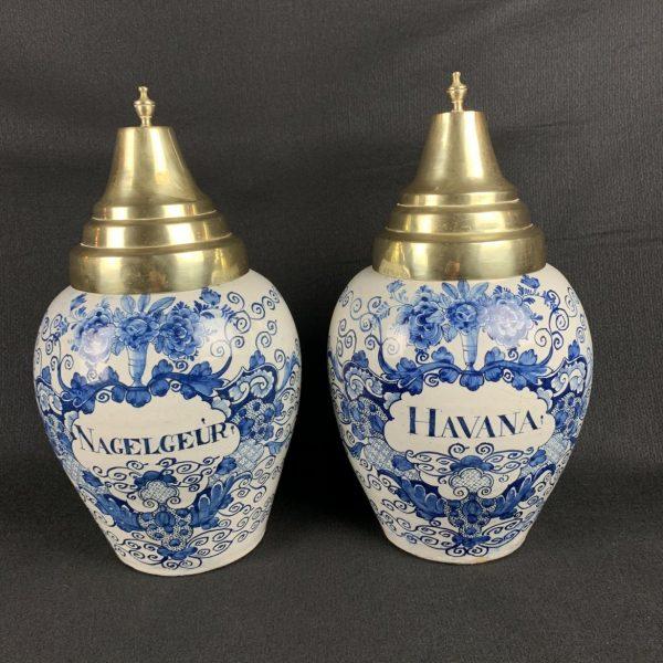 Pair Dutch Delft Tobacco Jars