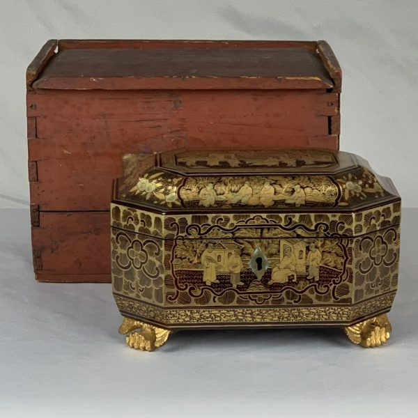 China Trade Lacquer Tea Caddy with Original Packing Case