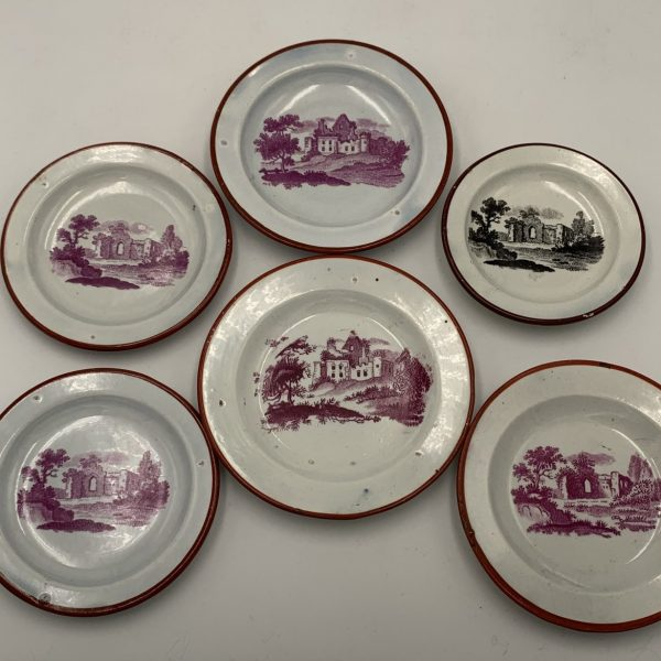 Pearlware Doll's Plates, Romantic Ruins