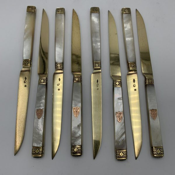French Gilt Silver & Pearl Handle Fruit Knives