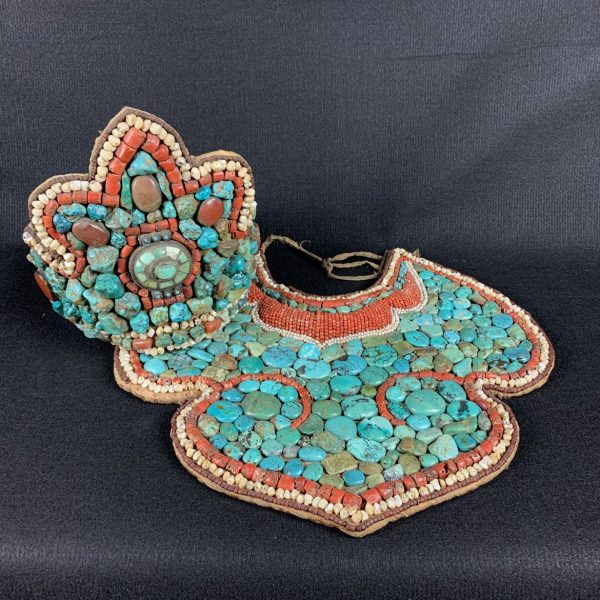 Ladakh/Tibetan Breastplate or Pectoral and Matching Headress/Crown