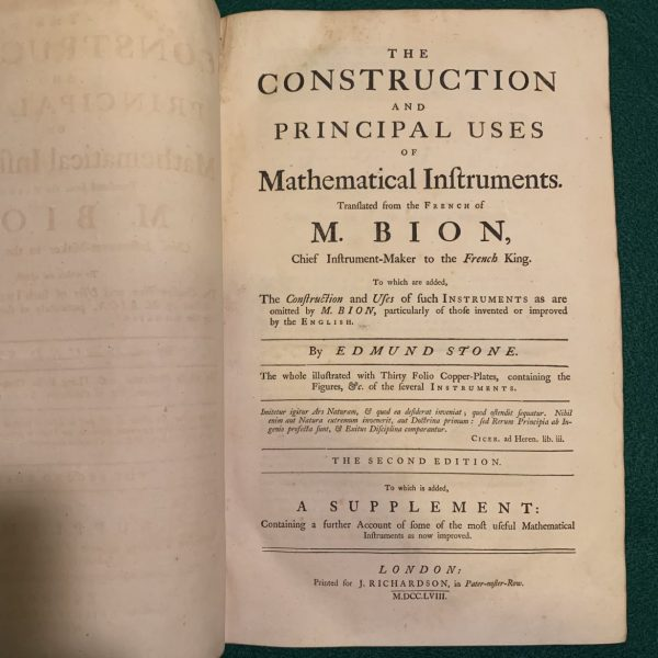 The Construction and Principal Uses of Mathematical Instruments, 1758