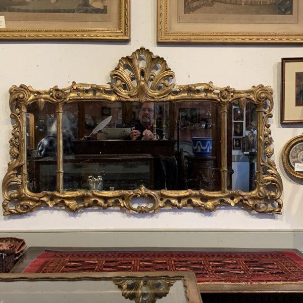 Georgian Giltwood Overmantle Mirror or Chimney Glass