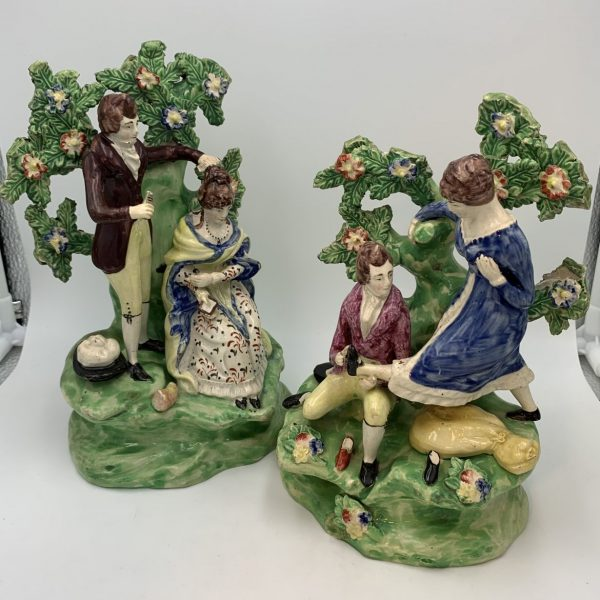 Pair Staffordshire Figures, The Hairdresser and The Shoe Seller