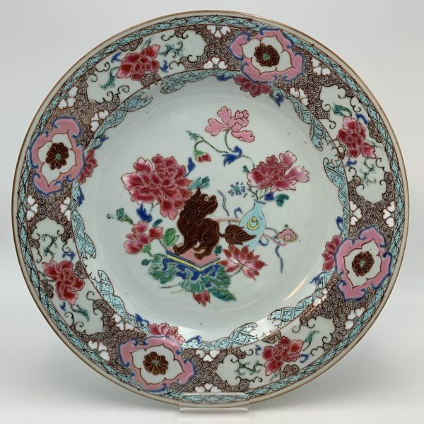 Yongzheng Famille Rose Plate with Foo dog