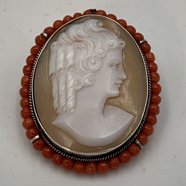 Victorian Silver Mounted Cameo with Coral Beads
