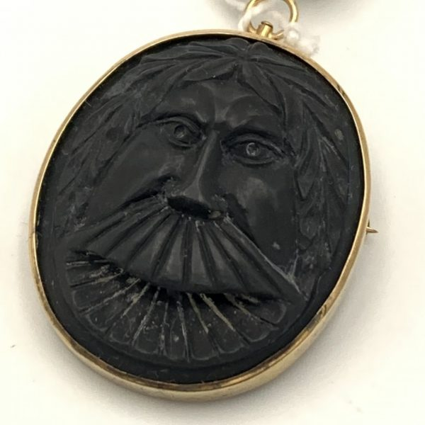 Carved Ebony and 14K Gold Brooch