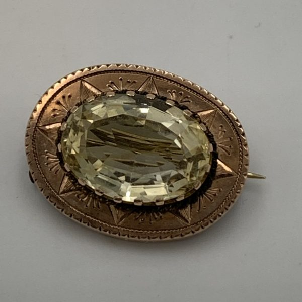 Citrine and Gold Brooch