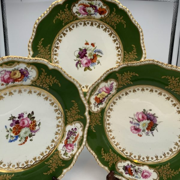Coalport Porcelain Green Border Floral Dinner Plates
