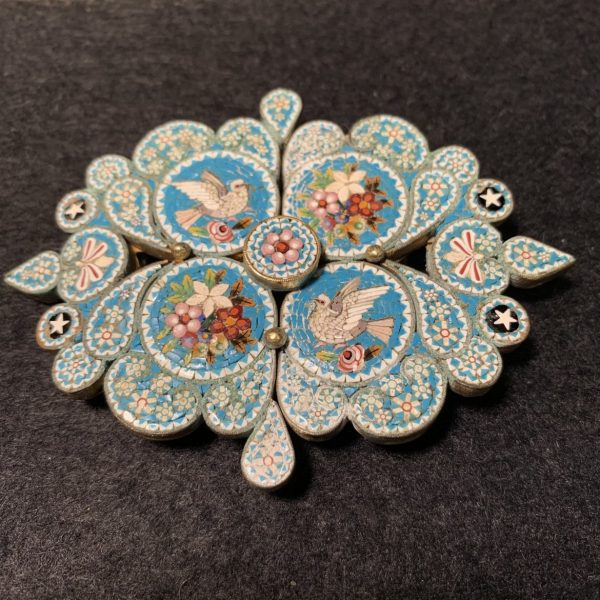 Micromosaic Belt Buckle with Doves
