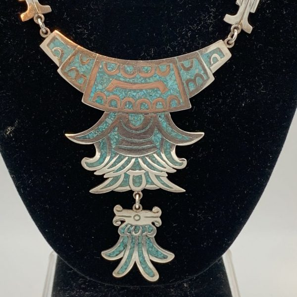 Taxco Sterling and Crushed Turquoise Necklace
