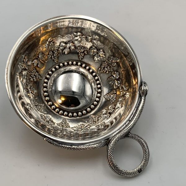 French Silver Tastevin with Snake Handle