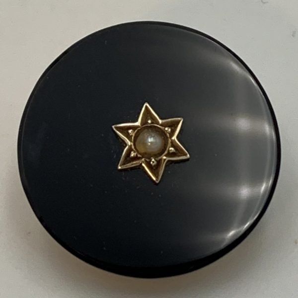 Black and Gold Mourning Brooch with Hair