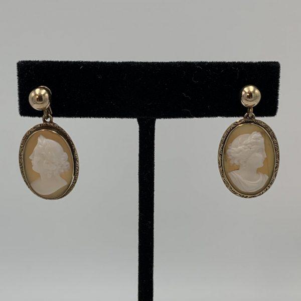 Cameo Earrings in 14k Gold