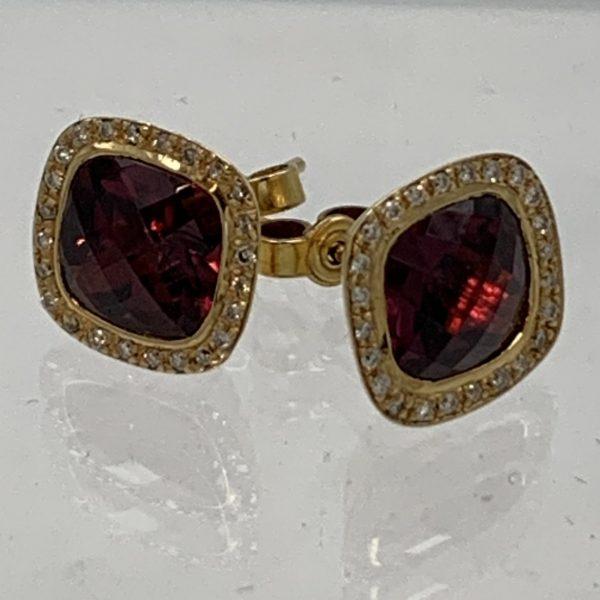 Garnet and Diamond 18k Gold Earrings