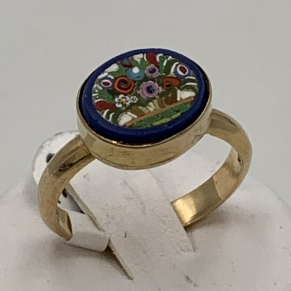 Floral Micromosaic Gold Ring