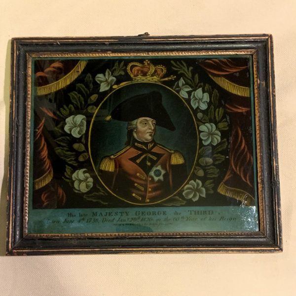 George III Memorial Mezzotint on Glass