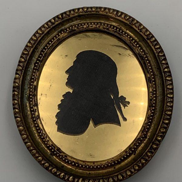 German Silhouette, Gilt Eglomise Mat and Brass Frame