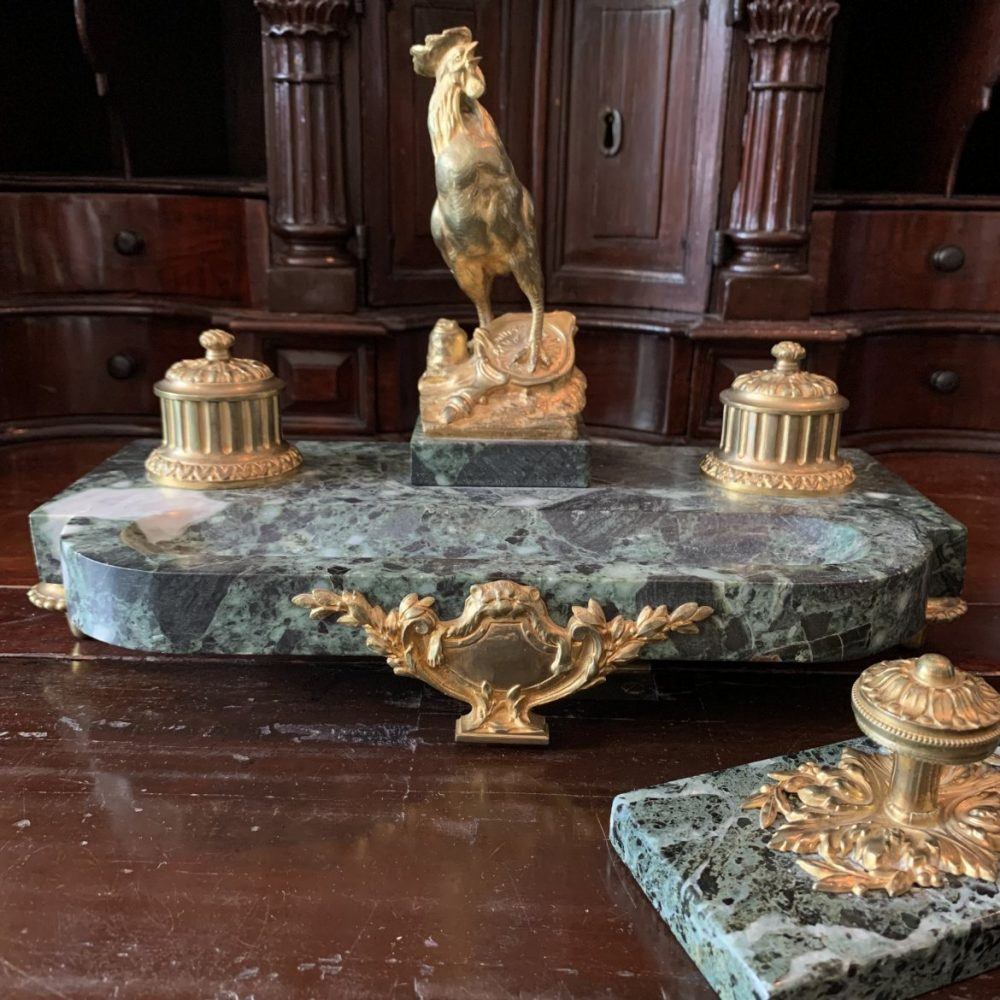 French Gilt Bronze & Marble Standish, Charles Paillet
