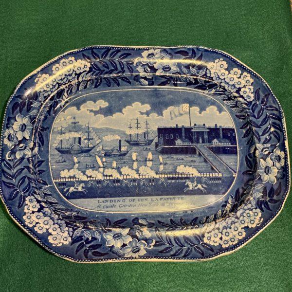 """""""Landing of Lafayette"""" Historical Blue Platter"""