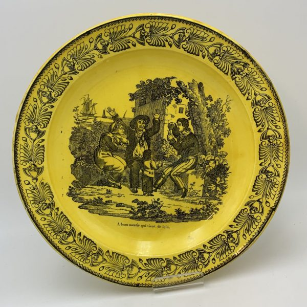 French Canary Creamware Transfer Printed Plate, Creil/Montereau