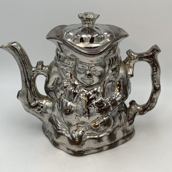 Silver luster Toby Teapot