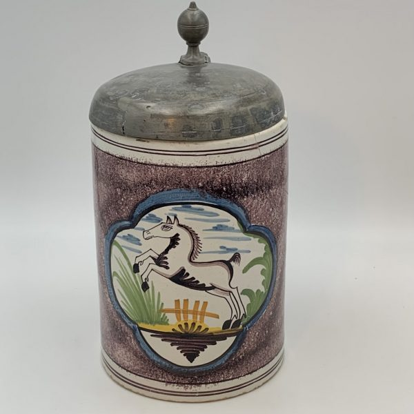 German Faience Tankard with Horse