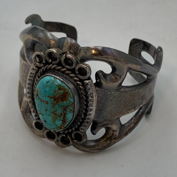 Early Native American Sand Cast Silver and Turquoise Bracelet